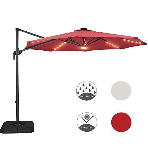 Patio Watcher 10-FT Solar 35 LEDs Patio Umbrella Offset Cantilever Umbrella Hanging Outdoor Market Pool Umbrella with Crank & Cross Base, Red