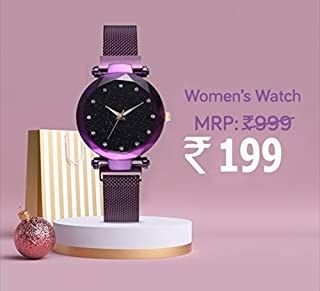 Avicii Diamond Series Purple Magnet Analogue Watch for Women's and Girl's Pack of - 1(AVD190)