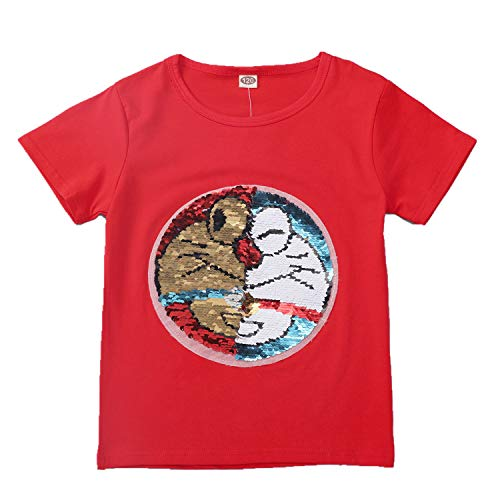 Camiseta de Sudadera con Lentejuelas mágica para niños y niños Camiseta sin Mangas de algodón (3-13 años)