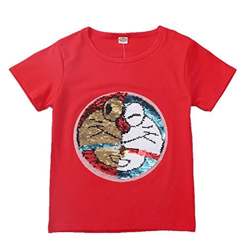 Camiseta de Sudadera con Lentejuelas mágica para niños y niños Camiseta sin Mangas de algodón (3-13 años) (110 (3-4 años), 21)
