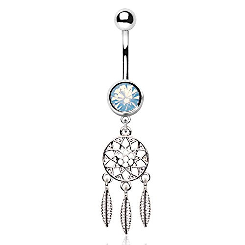 3 Feathers Dream Catcher Dangle Navel Belly Ring 14G