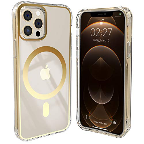 iPhone 12 Pro Max 6.7 Inch Compatible with MagSafe Clear Case, Built in Magnets Circle, Rainbow Holographic Effect, TIRVKEN (Gold)
