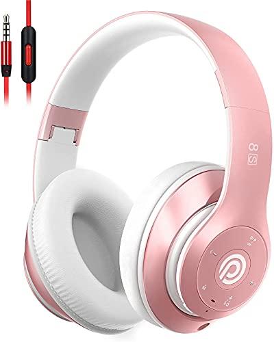 Bluetooth Kopfhörer Kabellose, HiFi Stereo Over Ear Kabellos Kopfhörer mit Mikrofon und Faltbares Wireless Headphone, Unterstützt die Micro SD/TF FM (für iPhone/Samsung/iPad/PC) (Rosa)