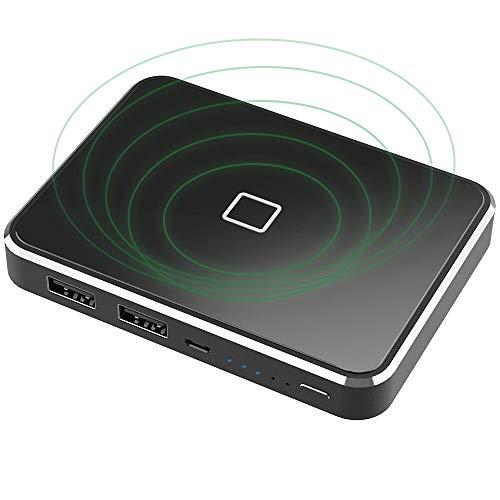 モバイルバッテリー 13000mAh X-DRAGON 無線と有線両用 ワイヤレス充電 Qi 充電器 鏡面仕上げデザイン 持ち運び 軽量 薄型 携帯バッテリー 無線充電