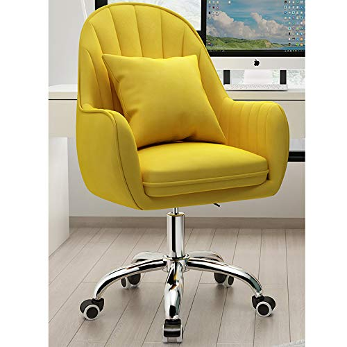 L-ELEGANT Adjustable Swivel Chair Modern Mid-back Desk Chair Armchair for Executive Living Bedroom,Upholstered Computer Chair with Armrest,Home Velvet Office Chair-Yellow 55x80-90cm(22x31-35inch)