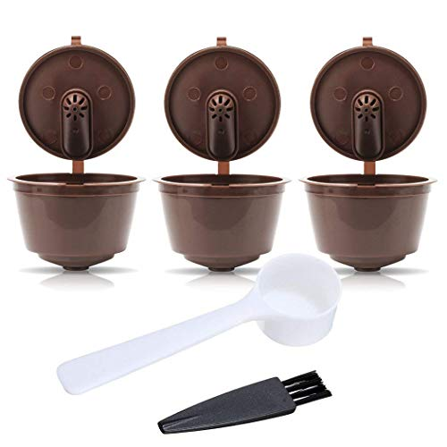 ZUMURCH Pack of 3 Dolce Gusto Refillable Coffee Pods Capsules Reusable Coffee Filters with Coffee Spoon and Brush-3rd Generation Brown