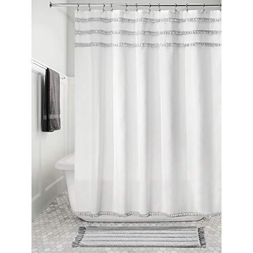 "iDesign 74638 Tassel Fabric Shower Curtain for Master, Guest, Kids', College Dorm Bathroom, 72"" x 72"""