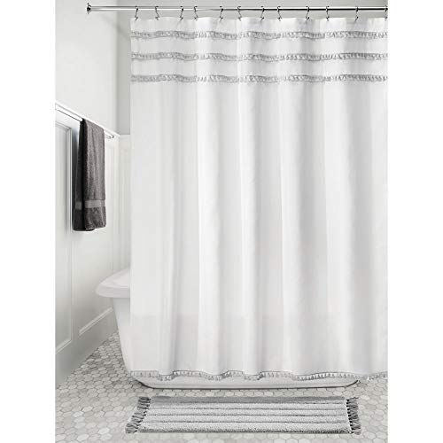 iDesign Fabric Shower Curtain with Tassels, 72 x 72 Inches -White and Gray