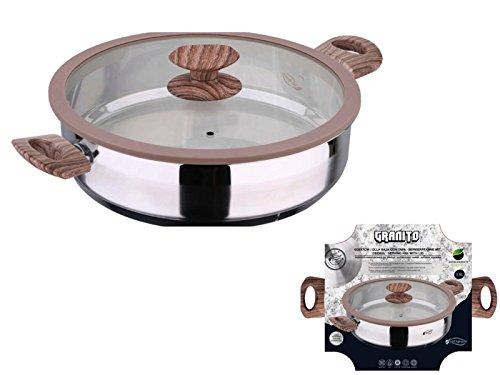 Induktion Edelstahl Bratpfanne mit Glasdeckel 28 cm Servierpfanne (Schmorpfanne, Griffe in Holzoptik, 3,8 Liter, Höhe 7 cm)