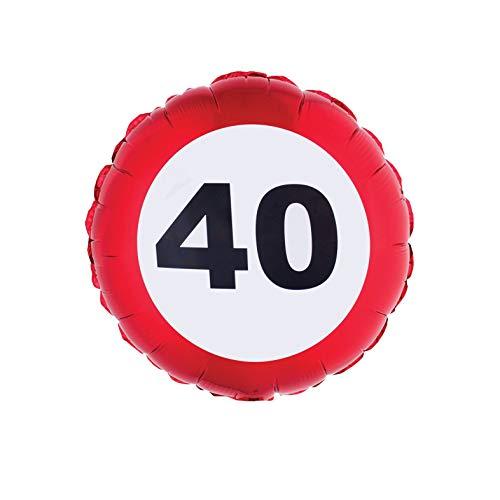 TrendClub100® Geburtstag Folien Luftballon Folienballon - Traffic Sign - Verkehrsschild Schild - Nr. 40