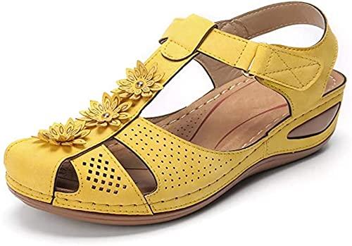 YIYUNKJ Mujer Sandalias de Punta Cerrada Cómodas Deportivas al Aire Libre Sandalias de Cuña Cuero Suave Verano Casual Sandalias de Plataforma Zapatos Transpirable Antideslizante Ahuecado