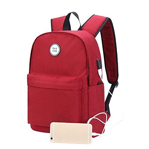 Pak One Rugzak met powerbank en USB-oplaadpoort, laptoptas, dagrugzak voor vrije tijd, school en outdoor, voor vrouwen en mannen