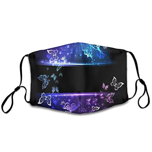 NiYoung Women & Men Dustproof Windproof Mouth Cover for Outdoor, Reusable Mouth Scarf with Adjustable Earloop (Glowing Butterflies Purple Blue Black Mouth Shields)