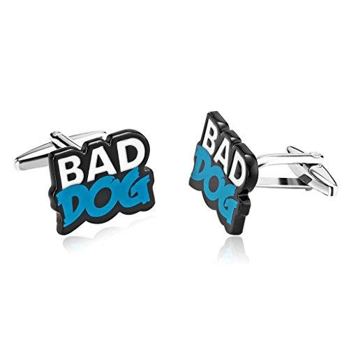AnazoZ &apos Bijoux de mode 1 paire de Homme Boutons de Manchette Acier Inoxydable Forme Gravure Bad Dog couleur blanc bleu Boutons de manchette pour