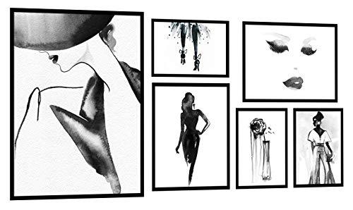 PoStar KP017 Wandbilder dekorative Set 6 Poster mit Rahmen Skizze Schwarz und weiß Frau XXL Premium