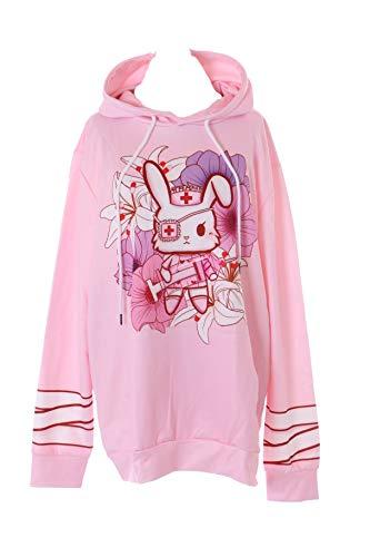 Kawaii-Story WY-B101 - Sudadera con capucha, diseño de conejo, color rosa