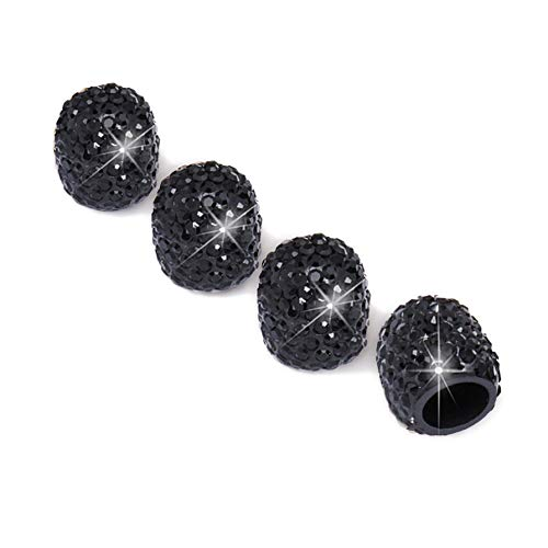 JUSTTOP 4 Pack Handmade Crystal Rhinestone Car Stem Air Caps Cover, Car Wheel Tire Valve, Attractive Dustproof Bling Car Accessories, Universal for Cars, Trucks and Motorcycles-Black