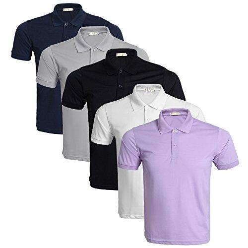 LEOCLOTHO Polo Uomo Manica Corta Cotone Tinta Unita Basic Tennis Golf Sport T-Shirt Set da 3/4/5