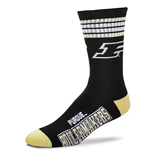 For Bare Feet NCAA 4 Stripe Deuce Crew Men Socks-Purdue Boilermakers-Large(10-13)