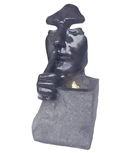 Dehner Gartenbrunnen Mask mit LED Beleuchtung, ca. 78.8 x 39.5 x 28 cm, Polyresin, anthrazit
