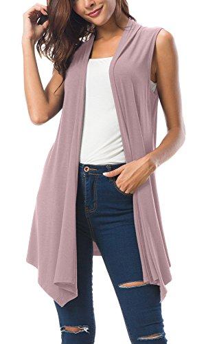 Women's Sleeveless Draped Open Front Cardigan Vest Asymmetric Hem (S, Lavender)