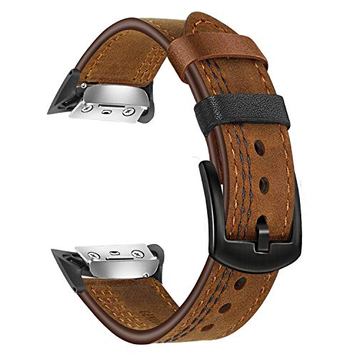 Gear Fit 2 Watchband, TRUMiRR Double Color Genuine Leather Watchband Stainless Steel Clasp Strap Sports Wristband Wrist Bracelet for Samsung Gear Fit 2 SM-R360 / Fit2 Pro SM-R365 Smartwatch