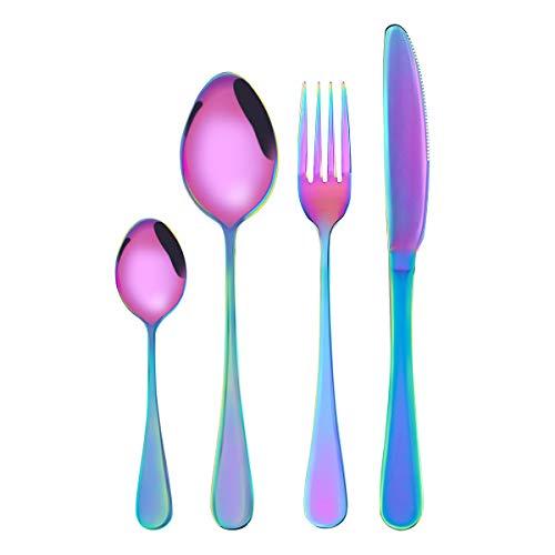 Obr, set di posate da argenteria, set di 4 posate in acciaio inox, include coltello forchetta e cucchiai (rosa canina)