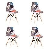 N / A Pack de 4 sillas Sillas de Retazos Multicolores en Tela de Lino Sillas de...