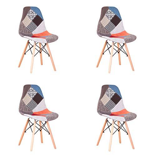 EGOONM Conjunto de 4 Sillas de Comedor de Patchwork Multicolore, Sillas de Sala de Estar de Ocio Sillas con Respaldo de cojín Suave (Rojo)