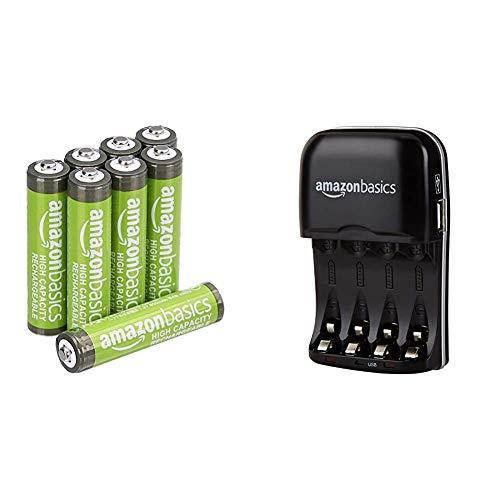 Amazon Basics - Carica batterie con porta USB per batterie Ni-MH AA e AAA & Batterie AAA ricaricabili, ad alta capacità, pre-caricate, confezione da 8 (l'aspetto potrebbe variare dall'immagine)