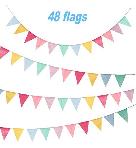 10 Mt Wimpel, Sackleinen Stoff Wimpelkette mit 48 stücke Dreieck Flags Multicolor Wimpel Banner Girlande für Geburtstag, hochzeit, haus, Baby Shower Party Dekoration