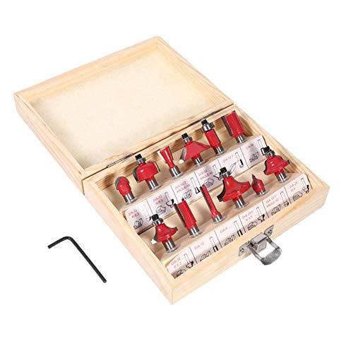 Ensemble de bits de routeur en carbure de tungstène 12pcs, ensemble de bits de routeur à pointe en carbure à tige de 8 mm, outils de coupe-fraisage pour le travail du bois dans une caisse en bois pou