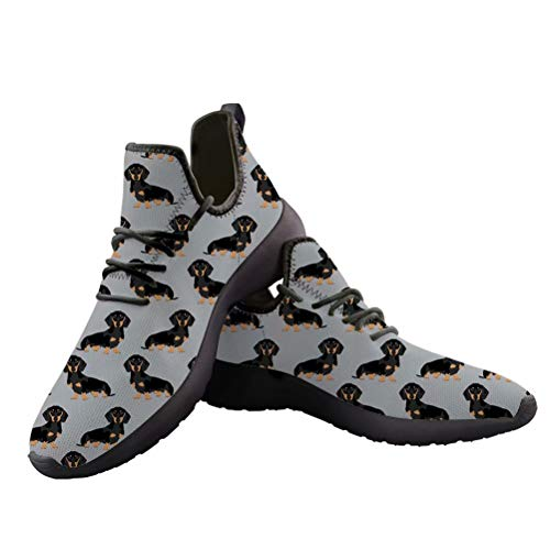 chaqlin Damen Sneaker, lässig, leicht, Dackel-Muster, Laufschuhe, Dachshund-2 - Größe: 38 EU