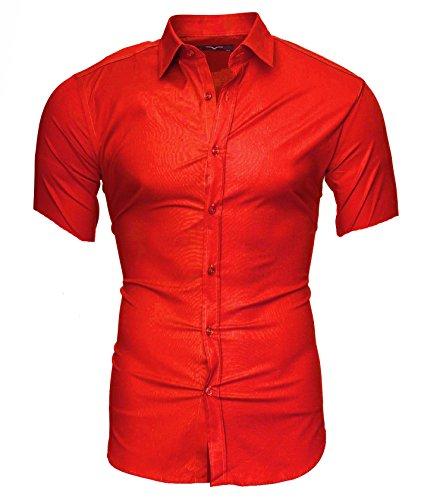 Kayhan Herren Kurzarm Hemd Caribic Rot (M)