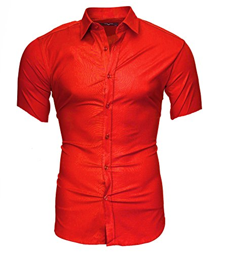 Kayhan Herren Kurzarm Hemd Caribic Rot (L)