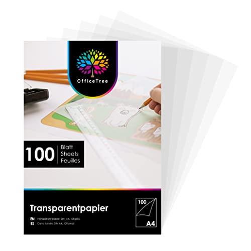 OfficeTree 100 Hojas de Papel Translucido A4 - Papel Vegetal 100 g/m - Papel Cebolla A4 - Papel Transparente Impresora para Manualidades - Imprimible por Ambos Lados