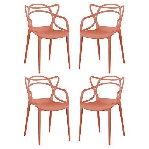 Sedia In Polipropilene Plastica Bianca Di Alta Qualità Di Design Per Interno E Giardino Stile Moderno Per Sala Da Pranzo, Cucina (Rosso, 4)