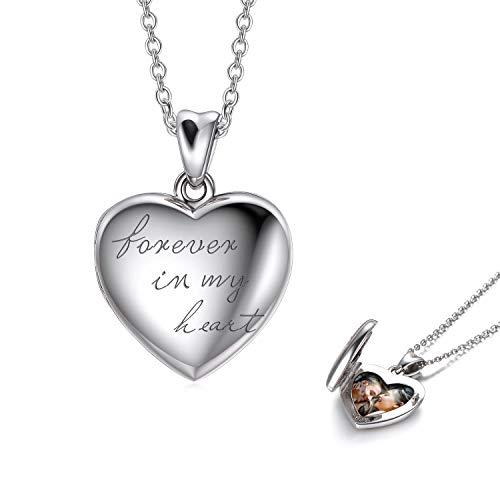 LONAGO 925 Sterling Silber Herz Medaillon Halskette Für Immer In Meinem Herzen Foto Medaillon Anhänger Halskette Schmuck