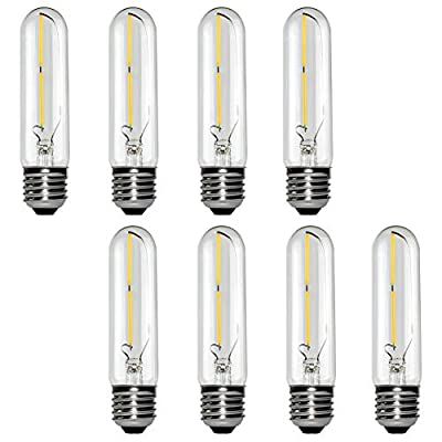 MD Lighting T10 Led Bulb 2W Dimmable 4.92 Inch Edison Tubular Bulbs, 2700K Warm White 20 Watt Incandescent Bulb Equivalent, 200LM E26 Base T30 Filament Light Bulb for Display Cabinet, 8 Pack