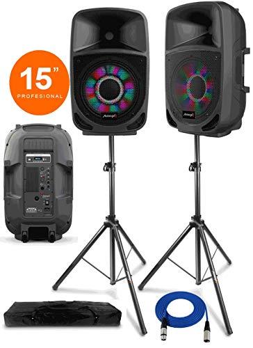 Audibax 2 x Vegas 15 Altavoz Pro con Efectos LED + Soportes Tripode, Bolsa + Cable 10 Metros