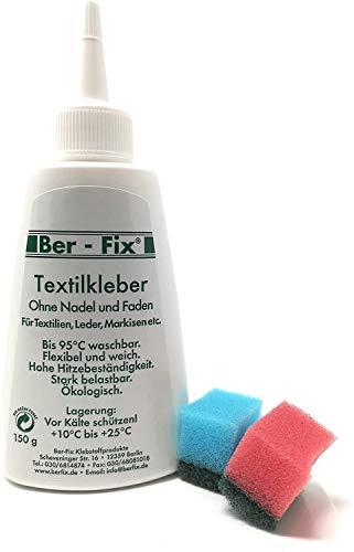 Ber-FixTextilkleber 150ml (kochfest 95° bügelfest 180° ohne anbügeln) mit 2 mini Schwämmchen
