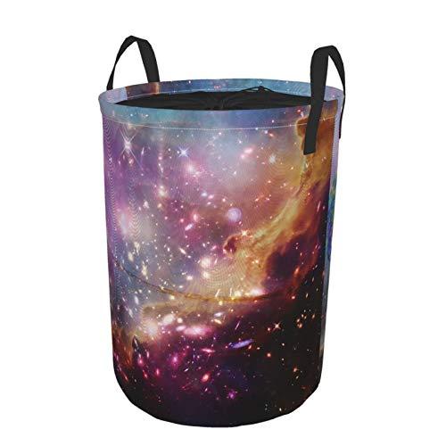 Zusammenklappbar Groß Wäschekorb für den Haushalt,Wunderbare Galaxien und Exo-Planeten in einem tiefen Raum,Lagerplatz Wasserdicht mit Kordelzug,14