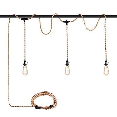 Triple Plug in Pendant Light Cord Kit,TuoBak's Pendant Light Kit with Switch 27FT, Hemp Rope Pendant Light Cord E26 Socket for Industrial Vintage Retro Farmhouse Decoration