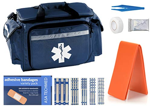 ASA TECHMED EMT First Responder Trauma Bag | Empty Deluxe EMS Shoulder Bag | Pro First Aid Kit Bag with 4 Large Compartments for Emergency Medical Supplies - Includes 280 Bandage Variety Pack (Blue)