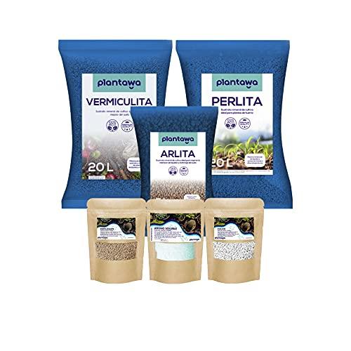 PLANTAWA Pack Perlita 20L + Vermiculita 20L + Arlita 5L + Fertilizante + Calcio + Abono, Sustrato para Plantas para Huerto Urbano, Tierra para Jardín Exterior, Sustratos y Abonos