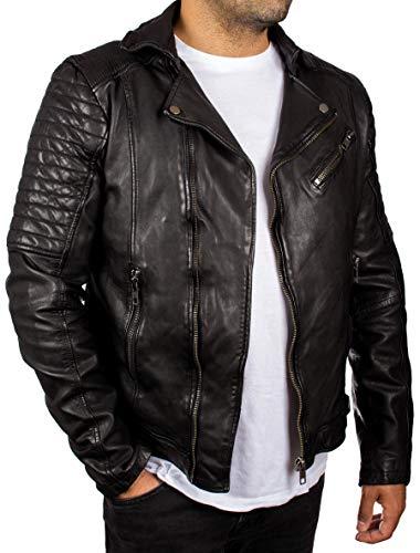 Lolus Cozi Herren Biker Lederjacke in schwarz aus weichem Echtleder Lammnappa (Gr. 48-62) Beste Qualität im Motorrad Look (52, Schwarz)