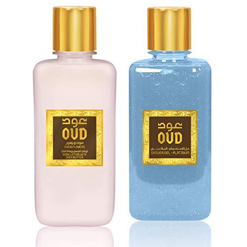 Coffret Duo Gel Douche Oud 300ml et Crèmes Lotion Lait Parfumé Hydratant Oud 300ml Fressia et Oud (Oud et Ambre)