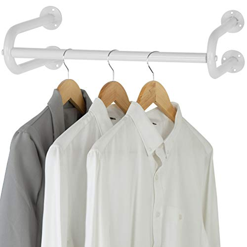MyGift 26-inch White Metal Wall-Mounted Garment Hanging Bar, Clothing Organizer Rack