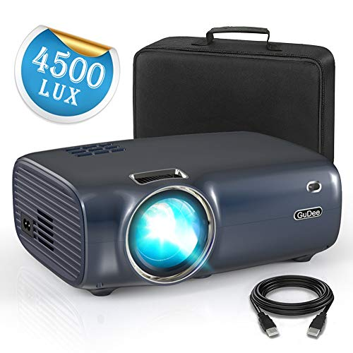 Projector, GuDee Mini Portable Video Projector LED with Dual Speakers, Digital LCD Home & Outdoor Movie Projector 1080P Supported, Compatible with Fire TV Stick, Smartphone, HDMI,VGA,AV and USB
