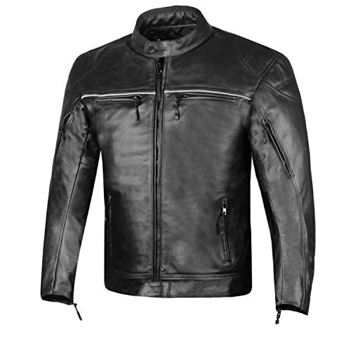 RETRO Men's Natural Buffalo Leather Motorcycle Street Cruiser Biker Jacket L